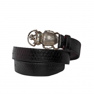 Black Python Belt Beatle Silver Buckle