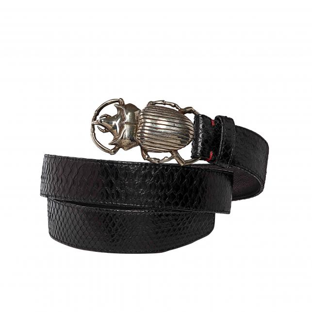 Black Python Belt Beatle Silver Buckle