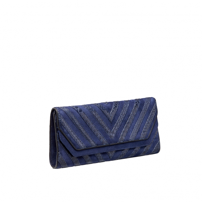 "Python Clutch Louise ""V design"" Navy"