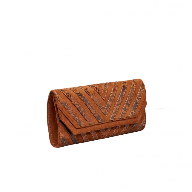 "Python Clutch Louise ""V design"" Moka"
