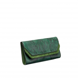 Python Clutch Louise Green Tricolor