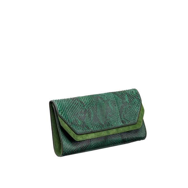 Pochette Python Louise Tricolore Vert