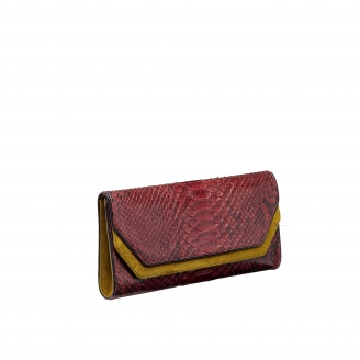 Python Clutch Louise Tricolore Mustard
