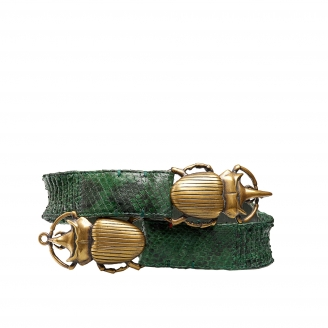Ceinture Python Double Beatle Dark Green