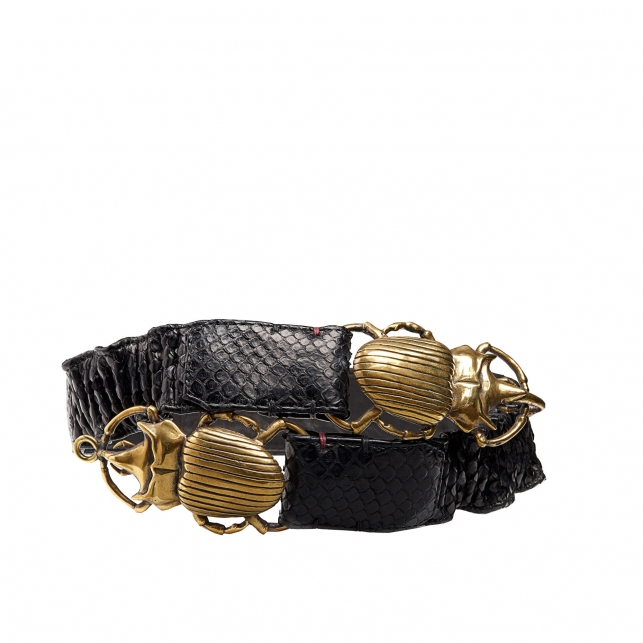 Black Python Belt Double Beatle Gold Buckle