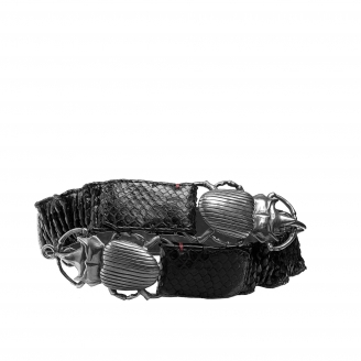 Black Python Belt Double Beatle Silver Buckle