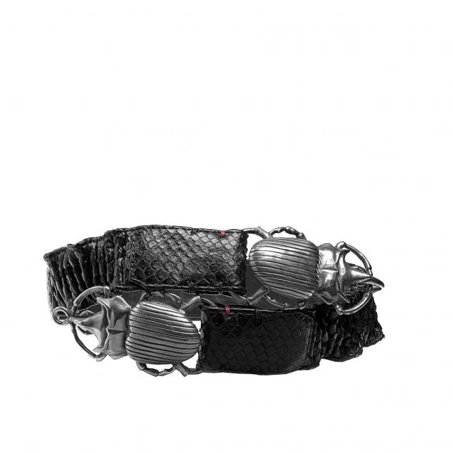 Black Python Belt Double Beatle Silver Buckle