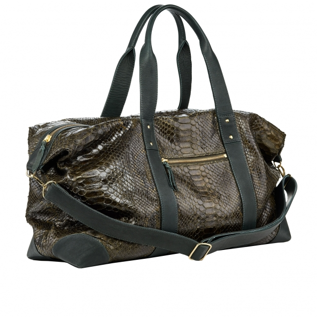 Sac Week-End Python Roger Dark Kaki L