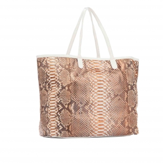 Pink Gold Metalic Python Tote Marny