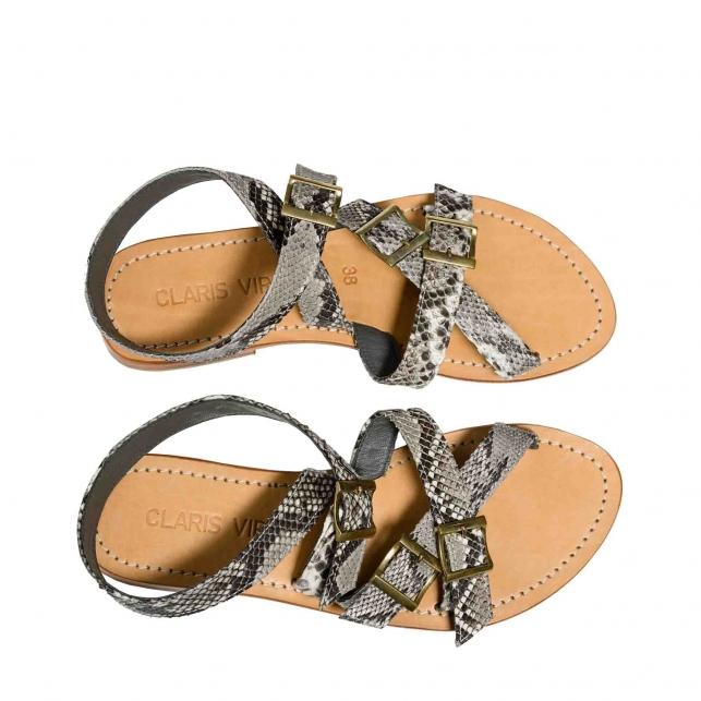 Sandales Python Fanny Diamond Cloutées