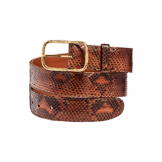 Moka Python Belt Clyde Gold Buckle