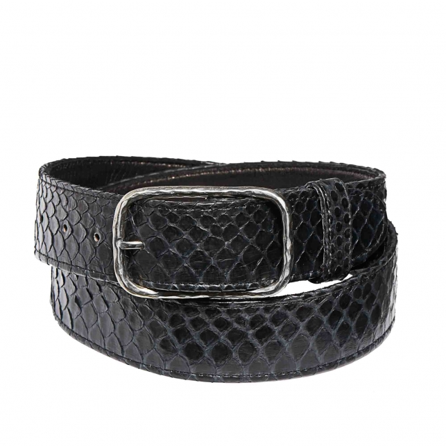 Python Belt Clyde Black with silver buckle