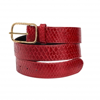 Ceinture Python Clyde Rouge Boucle Or