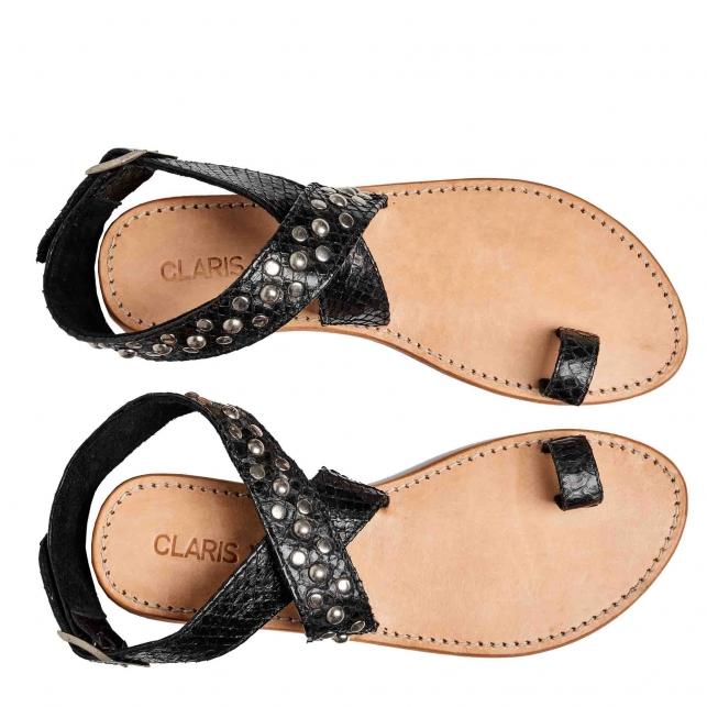 Sandals Python Lea Black Studs