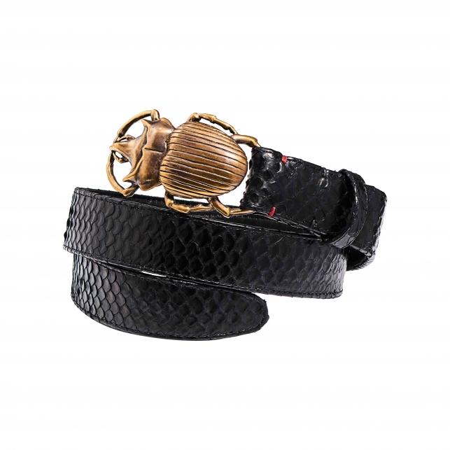 Black Python Belt Beatle Gold Buckle MEN T1