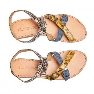 New Tricolor Python Sandal Fanny