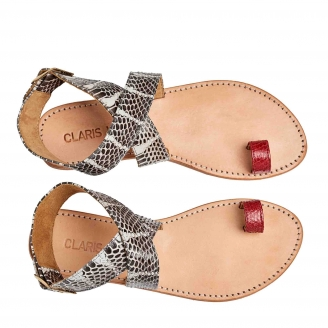 Sandals Lea Python Red Watersnake