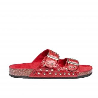 Sandals Odette Red Silver Studs