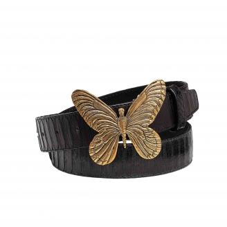 Black Python Belt Butterfly