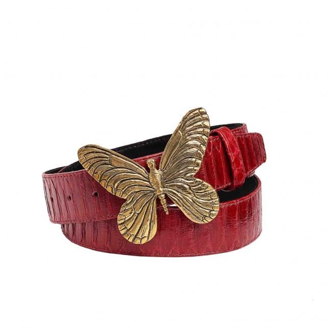 Ceinture Python Papillon Rouge