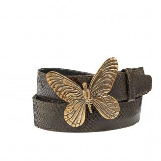 Dark Kaki Python Butterfly Belt