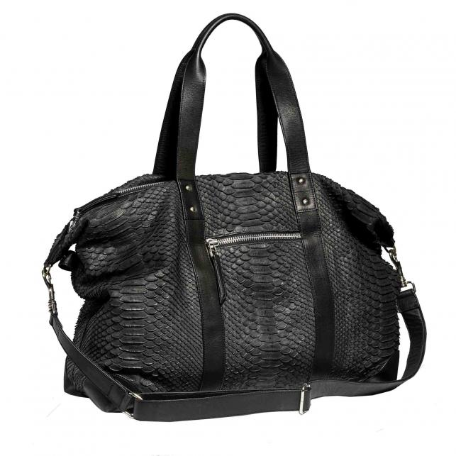 Week End black python Bag Roger
