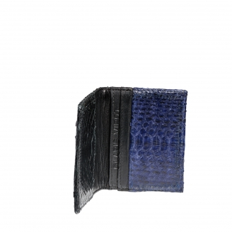 Python and leather Cardholder Alex Black and Navy