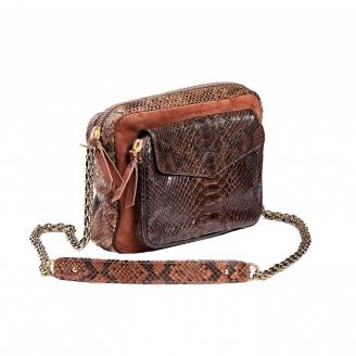 Bag Big Charly Python Brown Moka with chain