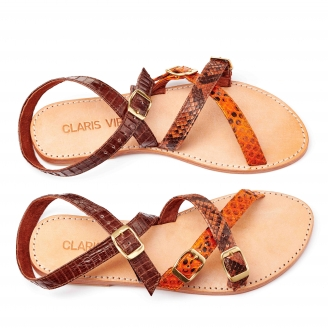 Sandales Python Fanny Orange Marron