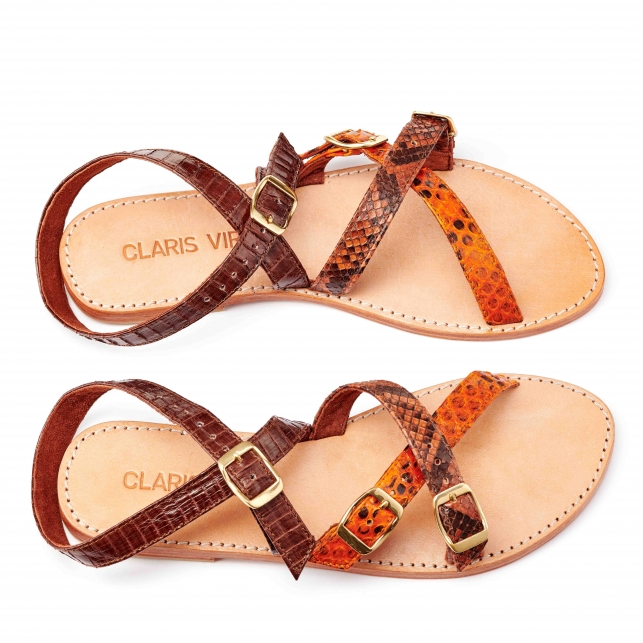 Brown Orange Python Sandal Fanny