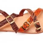 Sandales Python Fanny Orange Marron