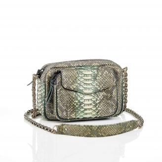 Metallic Aqua Green Charly Python Bag