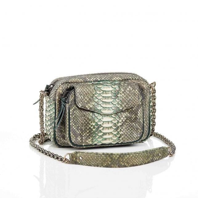 Metallic Aqua Green Charly Python Bag