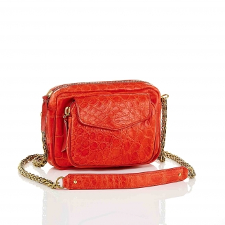 Sac Croco Charly Rouge Chaîne Or