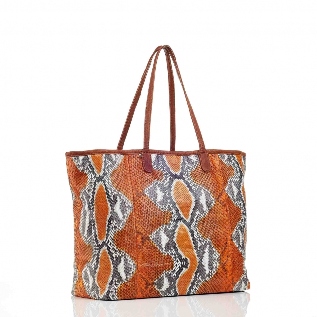 Orange Painted Python Tote Marny