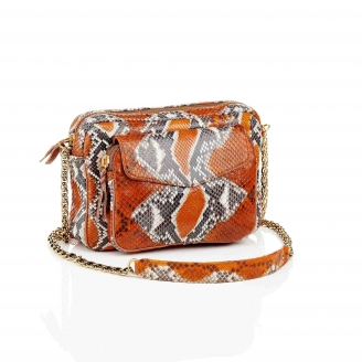 Bag Python Big Charly Orange Painted With Chain