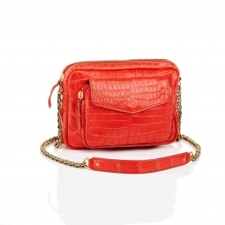 Bag Big Charly Rouge Croco With Gold Chain