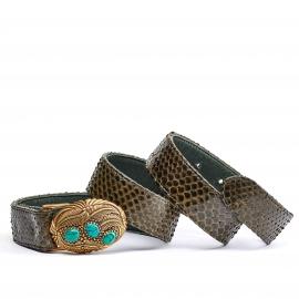 Kaki Python Turquoise Belt