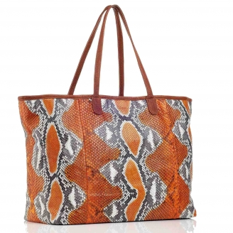 Orange Painted Python Tote XL Marny
