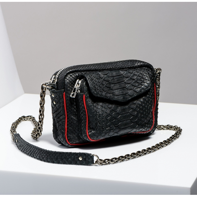 Claris Virot: Red Piping Silver Chain Black Charly Bag - Hiphunters Shop