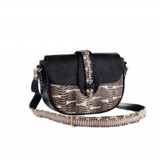 Hobo Bag Andrea Black Lizard And Watersnake