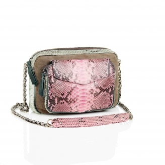 Bag Python Big Charly Tricolor Celadon Pink With Chain