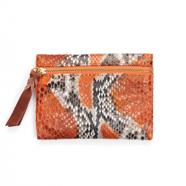 Porte Monnaie Python Olivia Orange Painted