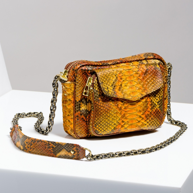 Claris Virot: Orange Painted Bag Charly Gold Chain - Hiphunters Shop