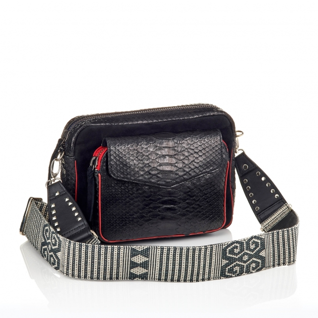 Bag Python Big Charly Black Color Zip With Shoulder Strap