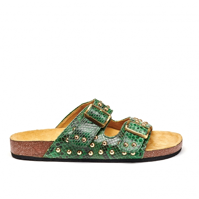 Sandals Odette Dark Green Gold Studs