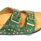 Sandals Odette Dark Green Gold Studs