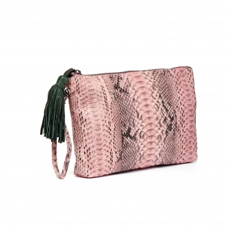 Python Clutch Andy Pink Powder