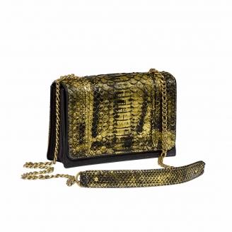 Python Shoulder Bag Anna Black and Gold Golden Chain