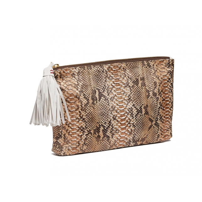 Clutch Python Andy Pink Gold Metallic